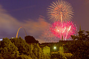 St Louis Missouri Posters - Fireworks over St Louis Poster by Garry McMichael