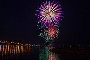 Fireworks Over The York River Print by James Drake