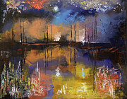4th July Painting Metal Prints - Fireworks Painting Metal Print by Michael Creese