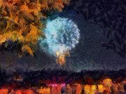 4th July Mixed Media Prints - Fireworks Through the Trees Print by Chris Reed