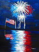 July 4th Paintings - Fireworks by Tracey Bautista