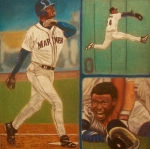 Baseball Pastels Posters - First Ballot feat Ken Griffey Jr. Poster by D Rogale
