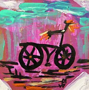 Primitive Drawings - First Bike by Mary Carol Williams