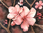 Cherry Blossoms Painting Posters - First Bloom Poster by Brandi Solomon
