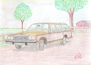 Transportation Drawings Originals - First Car by Mary Vincent