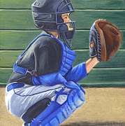 Little League Paintings - First Catch  First Game by Angela  Villegas