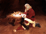 Santa Claus Paintings - First Christmas by Mark Spears