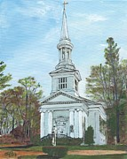 Cape Cod Paintings - First Church Sandwich MA by Cliff Wilson