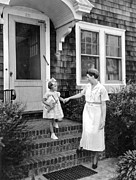 Front Steps Photos - First Day Of School by Underwood Archives