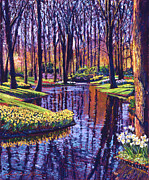 Gardenscape Paintings - First Days of Spring by  David Lloyd Glover