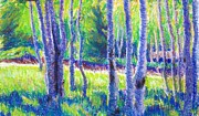 Aspen Trees Pastels Prints - First Evening Print by Katrina West
