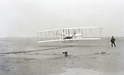 Props Framed Prints - First Flight Captured On Glass Negative - 1903 Framed Print by Daniel Hagerman