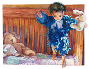 Child With Teddy Bear Prints - First Flight Print by Maureen Dean