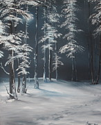 Snowy Trees Paintings - First Footprints by Jean Walker