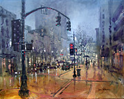 Rainy Street Painting Framed Prints - First Friday Mist Framed Print by Dan Nelson