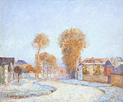 Snowfall Paintings - First Frost by Alfred Sisley