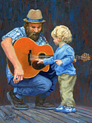 Blues Guitar Framed Prints - First Guitar Lesson Framed Print by Alice Leggett