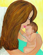 First Kiss- Mother And Newborn Baby Print by Shelia Kempf