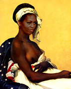 Michelle Obama Nude Digital Art Prints - First Lady Print by Karine Percheron-Daniels