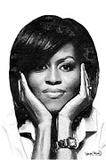 First Lady Drawings Framed Prints - First Lady - Michelle Framed Print by Wayne Pascall