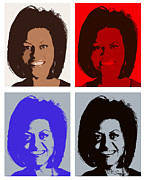 Michelle Obama Digital Art Prints - First Lady Print by Robert  Suggs