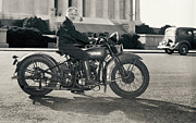 Harley Davidson Photos - First Licensed Woman Motorcyclist Washington D. C. - 1937 by Daniel Hagerman