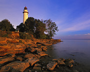 Pointe Prints - First Light at Pointe Aux Barques Lighthouse - FM000030 Print by Daniel Dempster