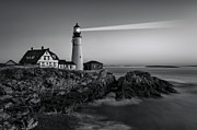 Maine Shore Framed Prints - First Light At Portland Head Light BW Framed Print by Susan Candelario