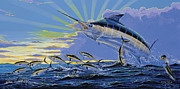 Striped Marlin Framed Prints - First Light Off00101 Framed Print by Carey Chen