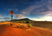 Windmill Posters - First Light on Wilpena Pound Poster by Bill  Robinson