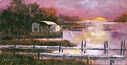 Susan Richardson Paintings - First Light Two Mile Channel by Susan Richardson