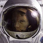 Universe Painting Metal Prints - First Man- Neil Armstrong Metal Print by Simon Kregar