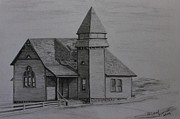 Church Drawings Originals - First Methodist Church by Carol Frances Arthur