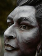 British Portraits Digital Art Posters - First Nations Portrait Painting Poster by Barbara St Jean