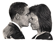 Michelle-obama Drawings Posters - First Order of Business Poster by Brian Wylie