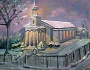 Waltham Prints - First Parish Church Print by Rita Brown