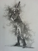 Baseball Bat Drawings - First Plate Appearance by James Rodgers
