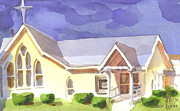 Religious Painting Originals - First Presbyterian Church II Ironton Missouri by Kip DeVore
