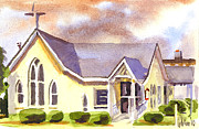 Mist Painting Posters - First Presbyterian Church Ironton Missouri Poster by Kip DeVore