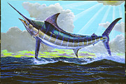 Black Marlin Painting Prints - First Run 00102 Print by Carey Chen