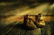 Wooden Digital Art Metal Prints - First shoes Metal Print by Veikko Suikkanen