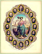 Color Lithographs Photo Acrylic Prints - First Sixteen USA Presidents 1861 Acrylic Print by Padre Art