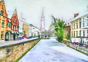 Old Town Digital Art Framed Prints - First Snow at Brugge Framed Print by Yury Malkov