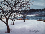 Snowy Trees Paintings - First Snow at Lake Winona by Monica Veraguth