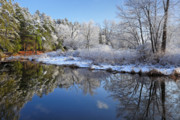 New England Winter Framed Prints - First Snow Framed Print by Bill  Wakeley