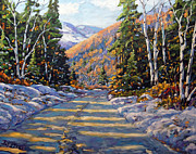 Canadian Artist Painter Painting Originals - First Snow by Prankearts by Richard T Pranke