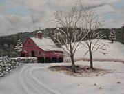 New England. Pastels Posters - First Snow Poster by Carol Corliss