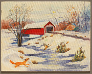 Covered Bridge Paintings - First Snow by Gedda Starlin