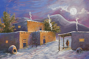 Winter Night Painting Metal Prints - First Snow Metal Print by Jerry McElroy