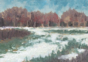 Autumn Landscape Drawings - First Snow by Marco Sivieri